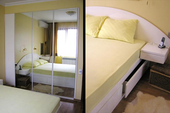 Комплект спалня с овална табла и вграден гардероб с плъзгащи се врати