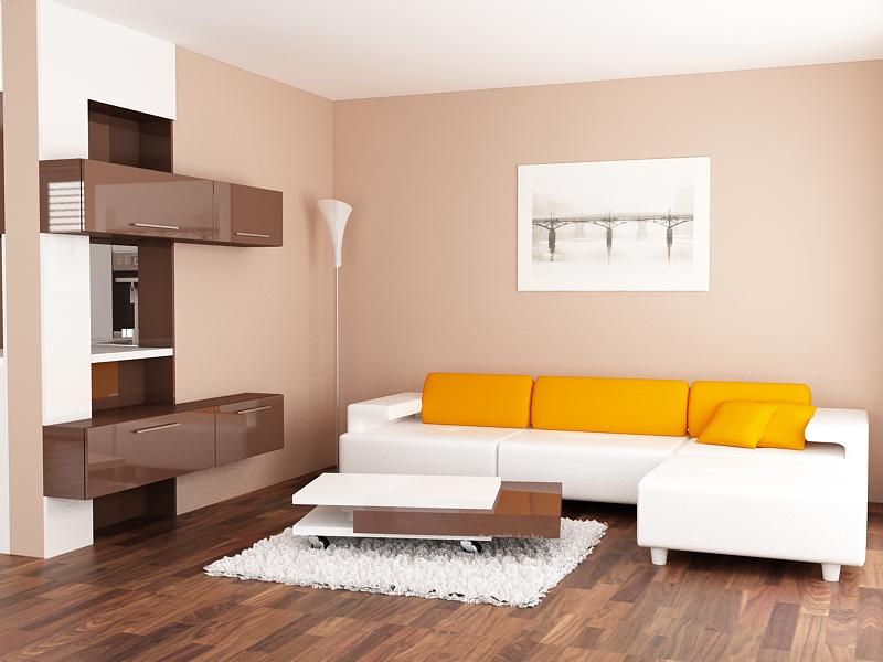 Мебели за дневна в бяло и шоколад