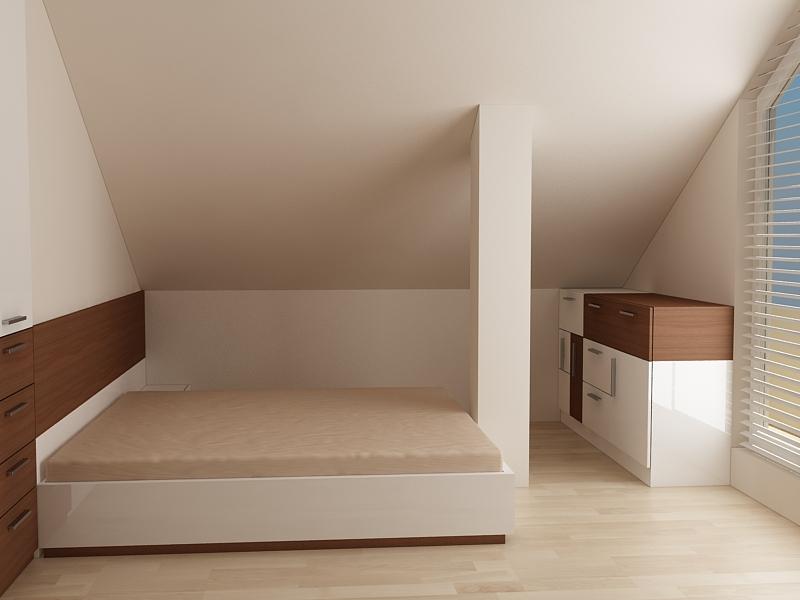 Спалня за ниша и скосен таван