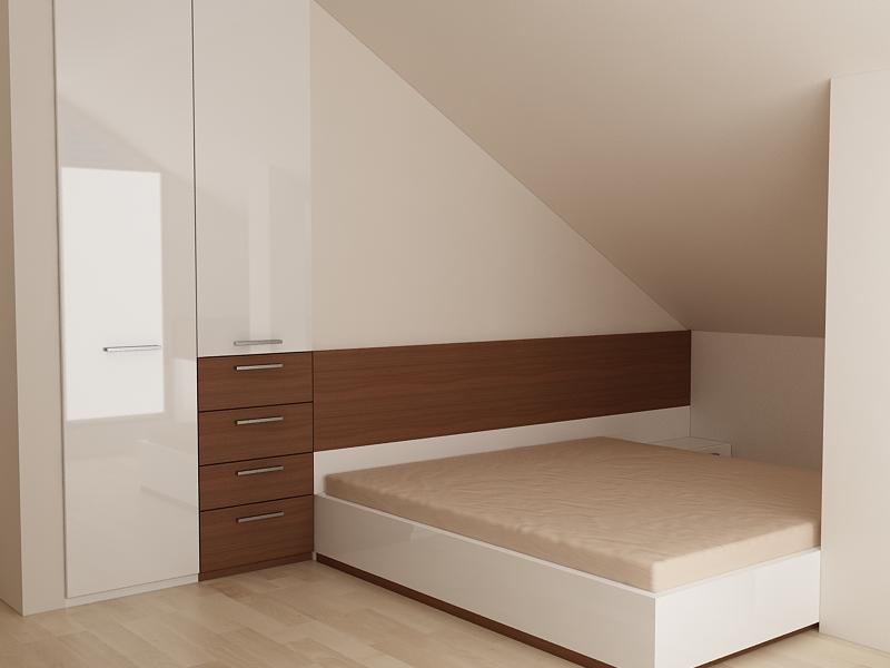 Проект за спалня са ниша и скосен таван