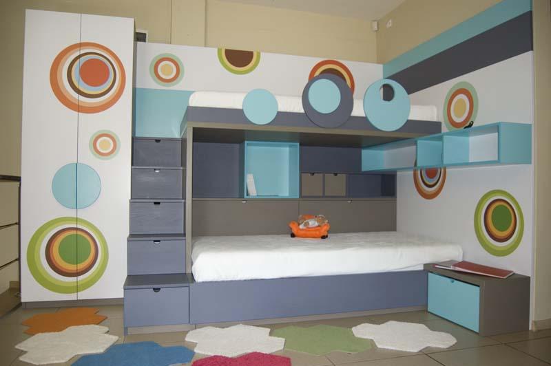 Обзавеждане за детска стая с две легла на два етажа, гардероб и бюро