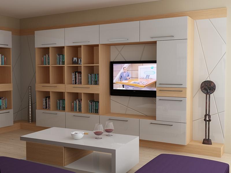 Секция с модерен дизайн с гръб за телевизор и множество етажерки