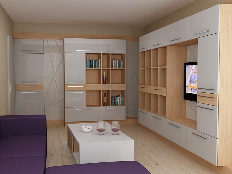 Секция по индивидуален проект с шкафчета и етажерки