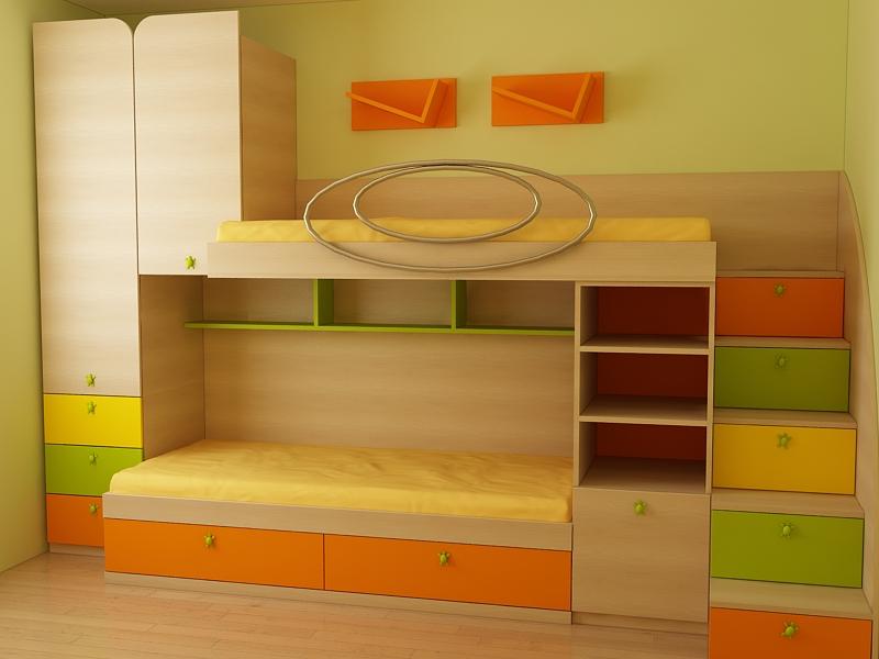 Детска стая за две деца с две легла, гардероб и секция