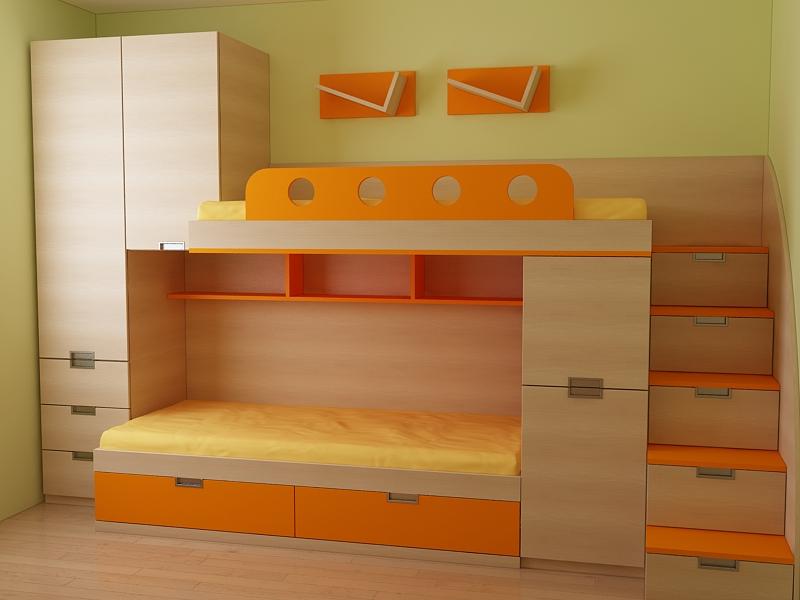 Обзавеждане за детска стая по проект от ПДЧ-плоскости с цвят на светло дърво и жълто