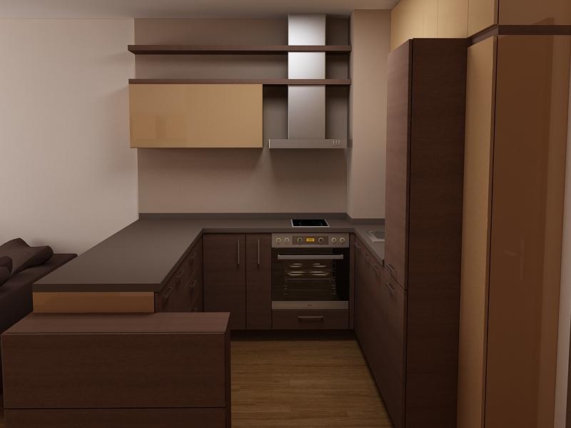 Проект на П-образна малка кухня от ПДЧ в цвят