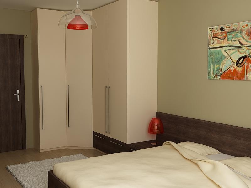 Ъглов гардероб за спалня - четирикрилен