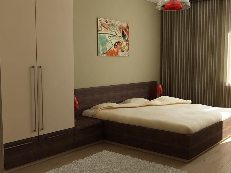 Спалня с матрак, гардероб, секции по индивидуален проект