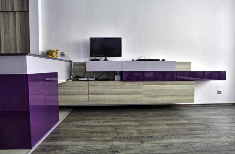 Проект за мебели за обща кухня с дневна