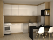 бяла кухня с барплот